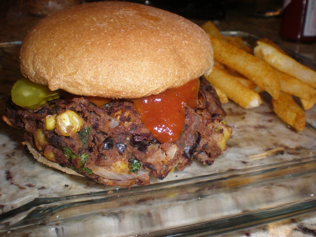 My burger with pickles and BBQ sauce