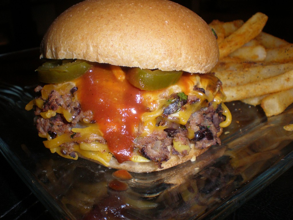 Ed's burger with jalapenos, BBQ sauce, and cheese