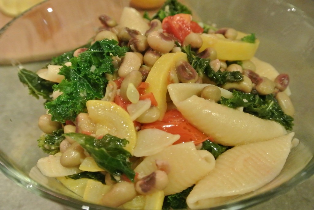 Lemony Pasta with Kale, Black Eyed Peas, and Squash #PoweredByProduce
