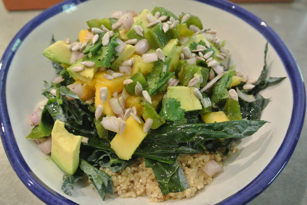 Quinoa, kale, mango salad with jalapeno dressing