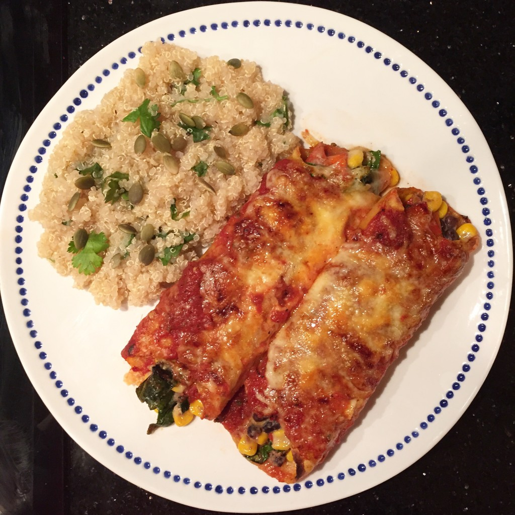 Black bean, corn, and collard green enchiladas